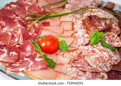 catering, meat cut with greens