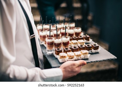 Catering Service Chocolate Mousse Sweets Finger Bites Dessert Plate Food Buffet Slate Tray