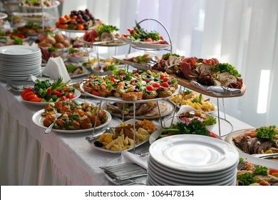 Catering service. Restaurant table with snacks food at event.
