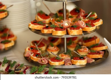 Street Food, Canape On Table For Dinner, Banquet And Other Events