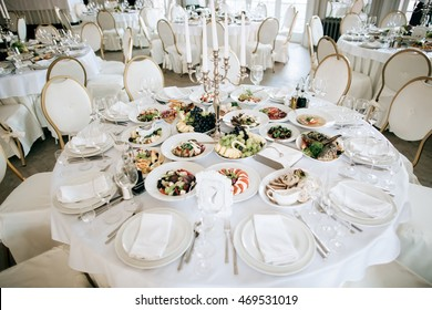 catering service. table with food and drink at restaurant before wedding party