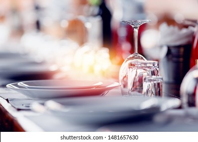 Catering service. Table setting, glass goblets cutlery