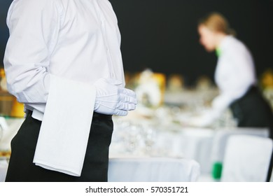 Catering service. waiter on duty in restaurant
