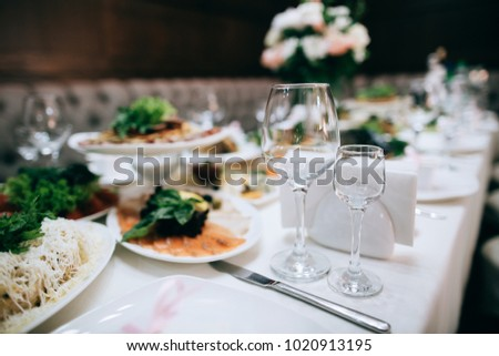 Catering Services Table Decoration Glasses Set Stock Photo Edit Now
