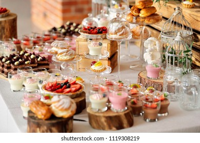 Catering sweets, closeup of various kinds of fruit pastry on event or wedding reception