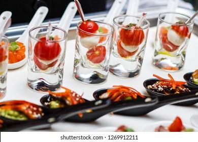 Catering waiter snacks tray