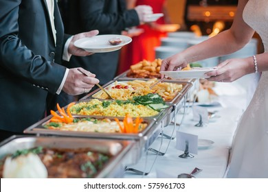 catering wedding buffet food table.