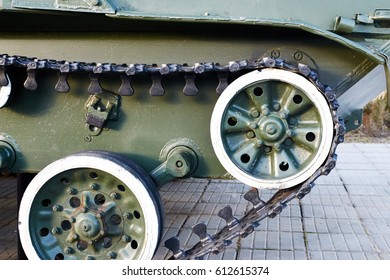 caterpillar with the drive wheel of the combat vehicle landing BMD-1