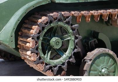 Caterpillar military tank rusty wheel or sprocket excavator