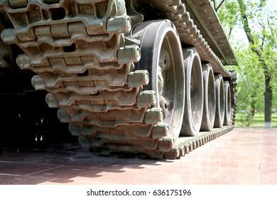 Caterpillar tank tracks close-up