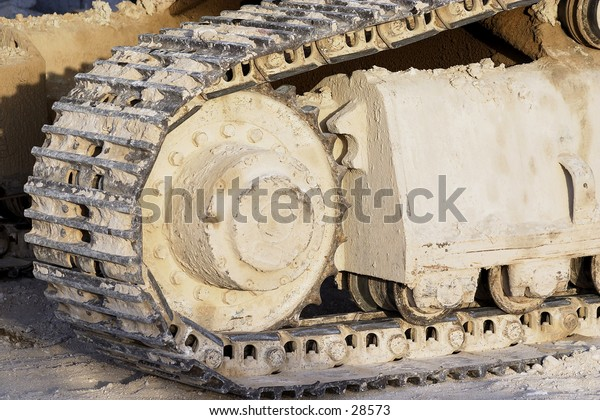 Caterpillar track on a heavy construction vehicle