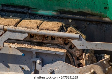 Caterpillar track of a tractor vehicle. Technology.
