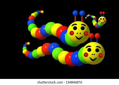 Caterpillars family in primary colors against a black background.