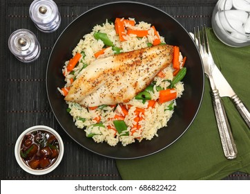 Catfish Fillet with Plum Sauce, Jasimine rice and vegetables.
