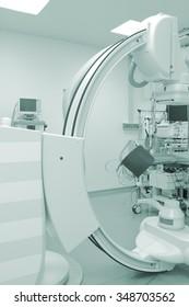Cath lab equipment in modern hospital