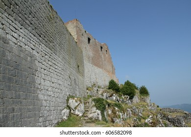 cathar castle of Montsegur in ariege, Occitanie in south of France