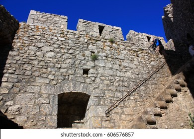 cathar castle of Peyrepertuse in Corbieres, Occitanie in south of France