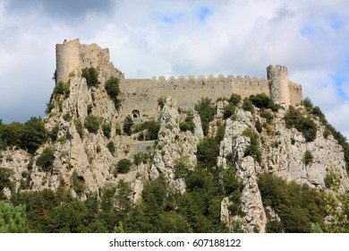 cathar castle of Puilaurens in Pyrenees, Aude, Occitanie in south of France