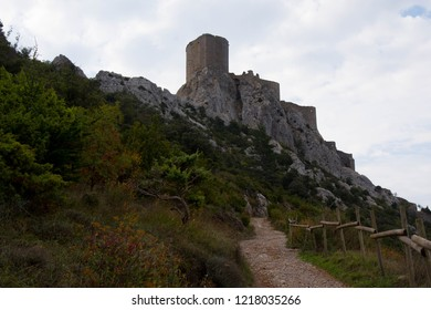 The cathar castle Queribus in the Aude region in France