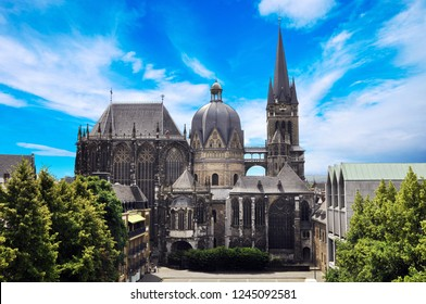 Cathedral Aachener Dom in Aachen, Germany on a sunny day