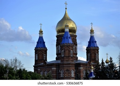 Cathedral of the Archangel Michael in the city Serdobsk Penza Oblast Russia on a background of drifting clouds