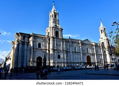 Cathedral of Arequipa in city center (Plaza de Armas). Peru. Arequipa- second most populous city in Peru, capital of Arequipa Region and major tourist destination in south Peru. Photo taken 2018-08-29