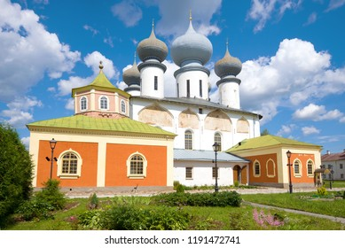 Cathedral of the Assumption of the Blessed Virgin Mary close-up on a sunny July day. Tikhvin Assumption Monastery, Russia