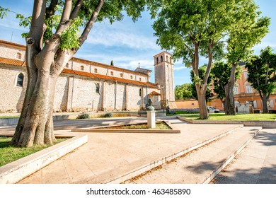 Cathedral of the Assumption of the Blessed Virgin Mary with clock tower in Pula city in Croatia