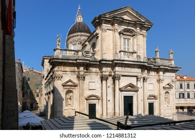 Cathedral of the Assumption in Dubrovnik, Croatia, originated in the 12th century, destroyed in the 1667 earthquake, rebuilt in the Baroque style in 1713.
