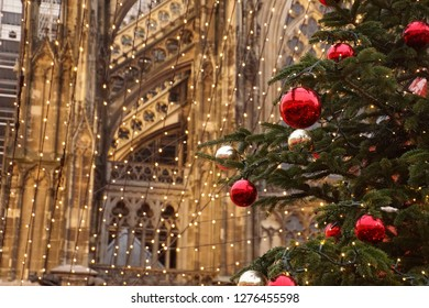 Cathedral background to the decorations and lights of the Christmas market,Cologne, Germany