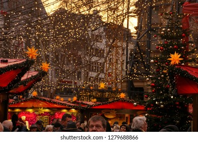 Cathedral background to the star decorations and lights of the Christmas market,Cologne, Germany