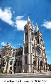 The Cathedral Basilica of the Immaculate Conception in Denver, Colorado on a sunny day