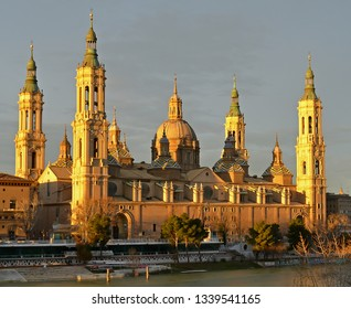 Cathedral Basilica of our lady of the pillar in Zaragoza, Spain at sunrise.