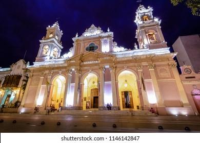 Cathedral Basilica of Salta at night - Salta, Argentina