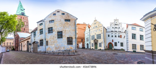 Cathedral Basilica of St. James and Three Brothers Houses in Riga old town, Latvia. Panoramic montage from 18 HDR images