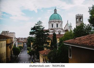 cathedral in Brescia  panoramic view. Italy, Brescia, 06.08.2017