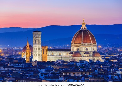 The Cathedral and the Brunelleschi Dome at sunset. Florence, Italy