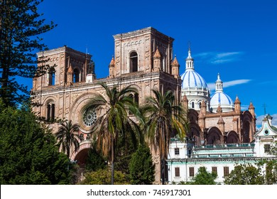 Cathedral built of bricks in the center of the city of Cuenca, Ecuador