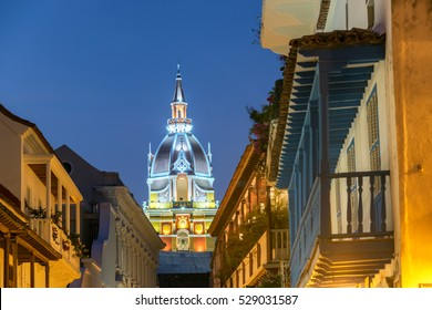 Cathedral of Cartagena, Colombia taken in the late evening during the blue hour