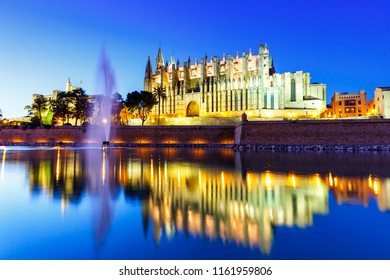 Cathedral Catedral de Palma de Mallorca Majorca church reflection twilight evening Spain travel traveling tourism