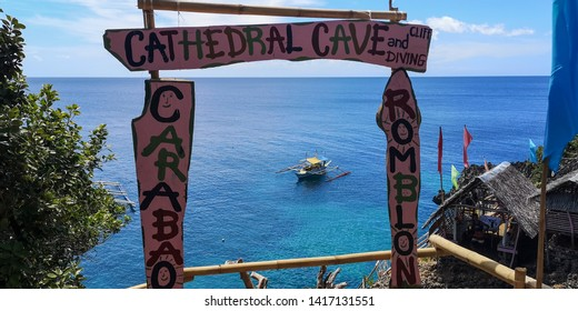 Cathedral Caverns, Boracay / Philippines - 04 24 2019: Cathedral Cave Caverns Boracay Cliff Diving