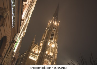 Cathedral in the center of Novi Sad, night photography, fog, winter wonderland, photos with the forest