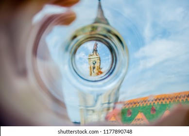 Cathedral in the center of Novi Sad, Serbia, a distorted image through a glass