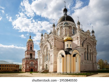 Cathedral, chapel and church with a bell tower in the Kazan monastery in Vyshny Volochyok, Tver region, Russia.