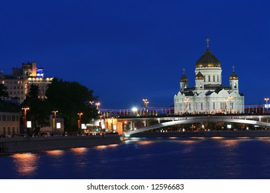 The Cathedral of Christ the Savior at evening (Moscow, Russia)