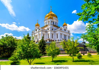 Cathedral of Christ the Saviour in Moscow, Russia. Russian church summer landscape. Moscow cathedral of Christ the Savior