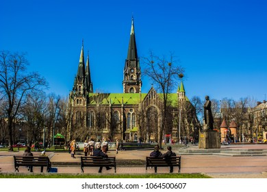 cathedral church in Lvov and city view in square with people back to camera