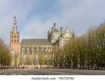 Cathedral Church of St John of  Hertogenbosch Netherlands gothic architecture. Cathedral of the bishopric of  Hertogenbosch. View from the Parade square.