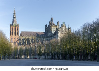 Cathedral Church of St. John (Sint-Janskathedraal) of 's-Hertogenbosch, Netherlands - gothic architecture. View from the Parade-square.