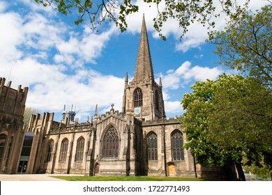 The Cathedral Church of St Peter and St Paul in Sheffield, usually called simply Sheffield Cathedral, Sheffield, England, UK. Sunny day, blue sky in Spring.